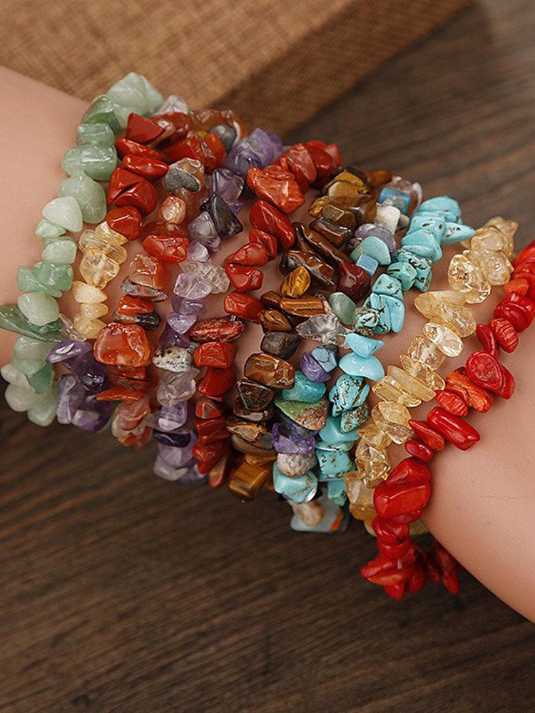 Bohemian Natural Crystal Gravel Bracelet Retro Style Wish Crystal Bracelet For Women