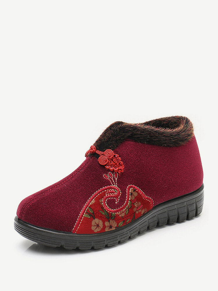 Women Casual Warm Embroidery Notional Pattern Ankle Snow Cotton Boots