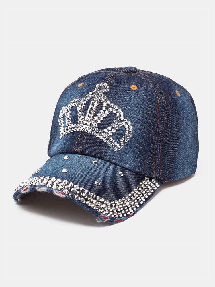 Women Denim Rhinestone Decorated Crown Pattern Broken Hole Casual Sunshade Baseball Caps