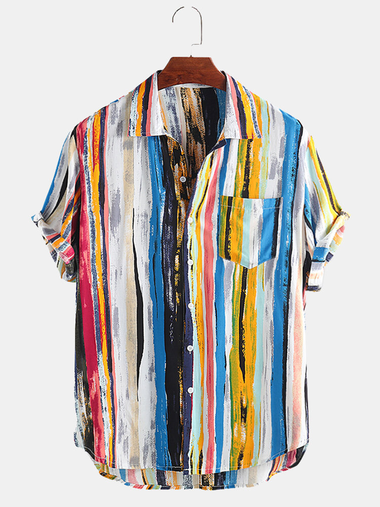 Mens Multi Color Graffiti Chest Pocket Round Hem Loose Short Sleeve Shirts