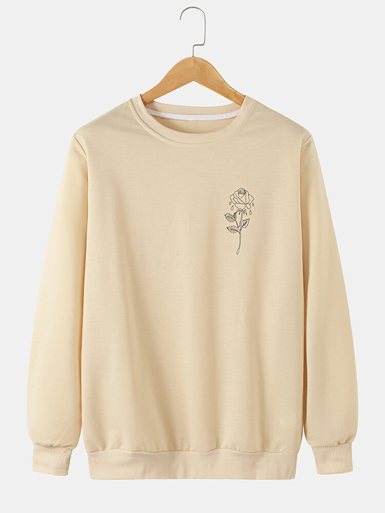 Mens Simple Rose Pattern Cotton Round Neck Casual Loose Pullover Sweatshirt