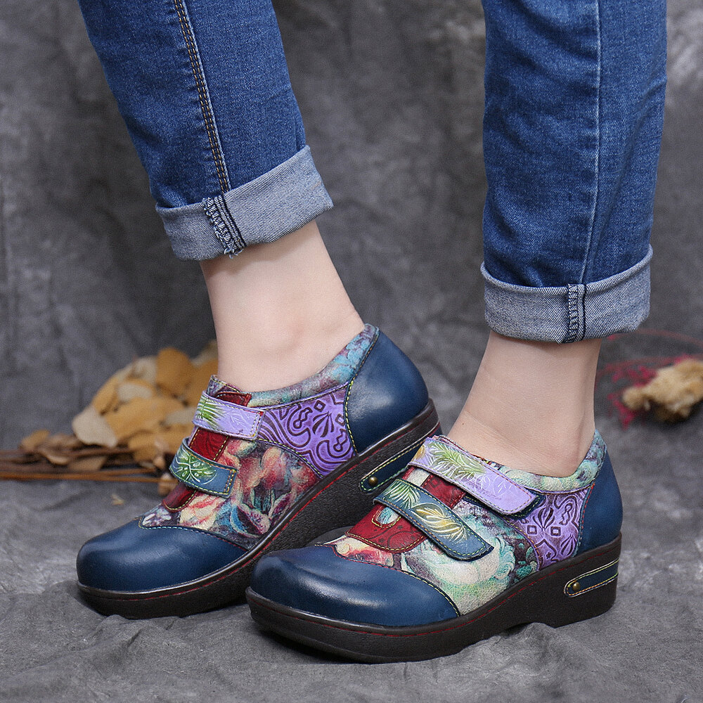SOCOFY Retro Blooming Colored Flowers Embossed Genuine Leather Shoes