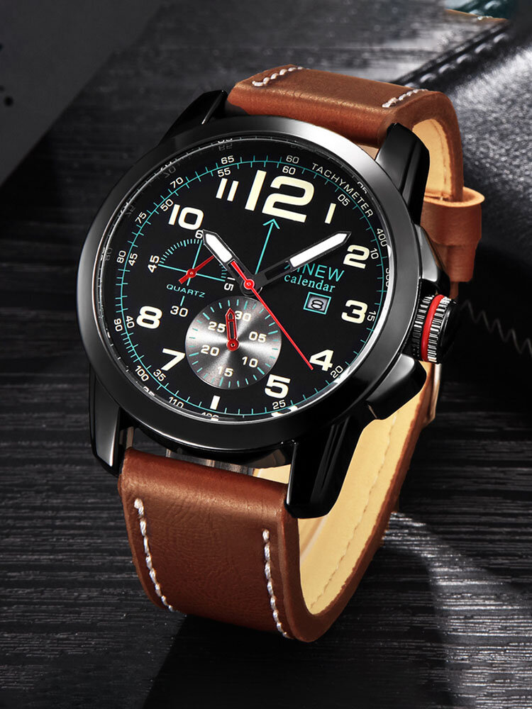 Alloy Mens Watches Leather Band Date Business Quartz Wrist Watch