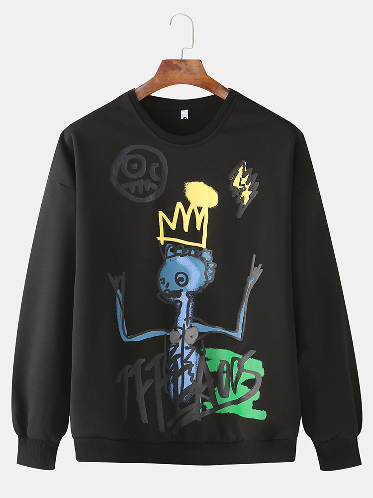 Cool Mens Fun Ghost Doodle Print Round Neck Casual Sports Hoodie