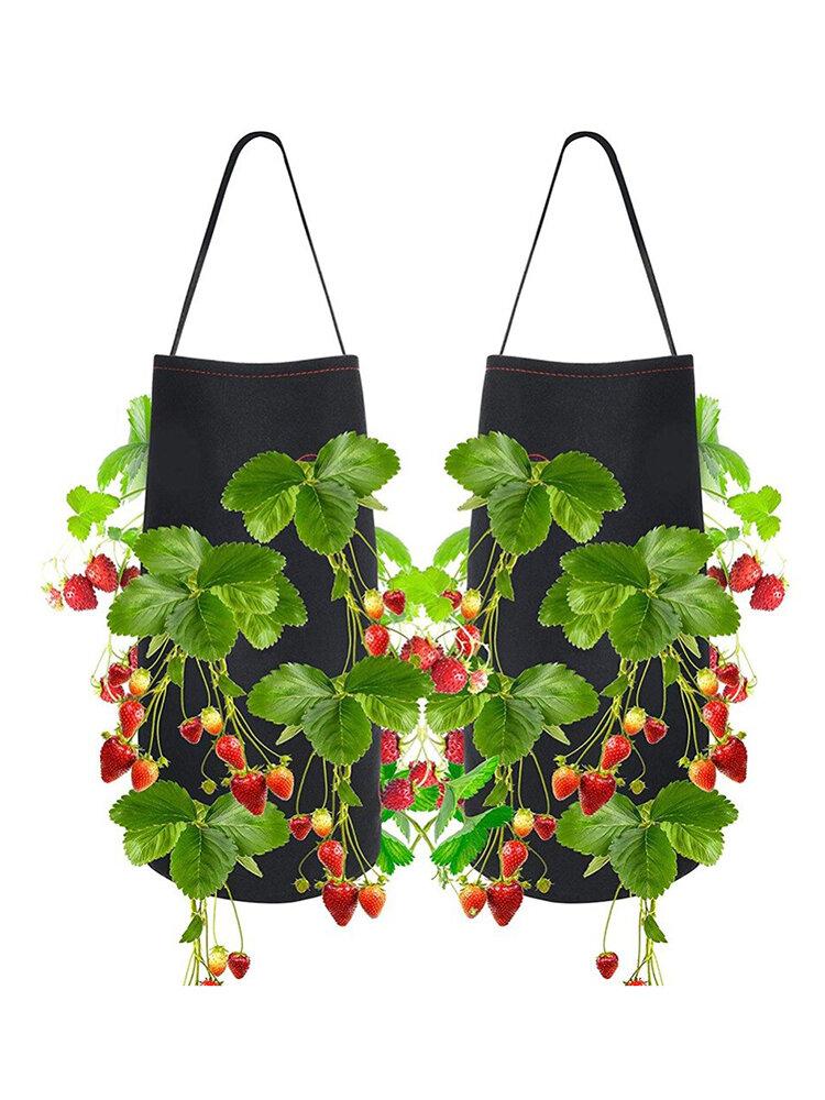 成長している屋外の庭の吊り野菜植栽成長バッグ用の不織布イチゴプランターバッグ