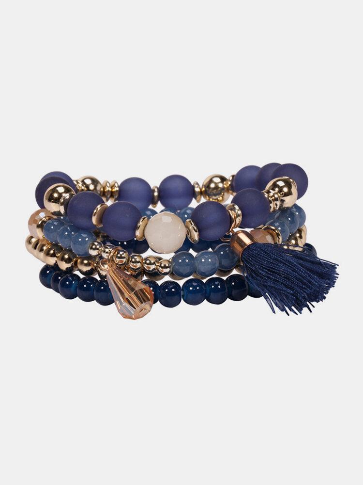 4 Pcs/set Pearl Glass Bead Bracelet with Tassel Crystal Pendant Bracelets Pack for Women