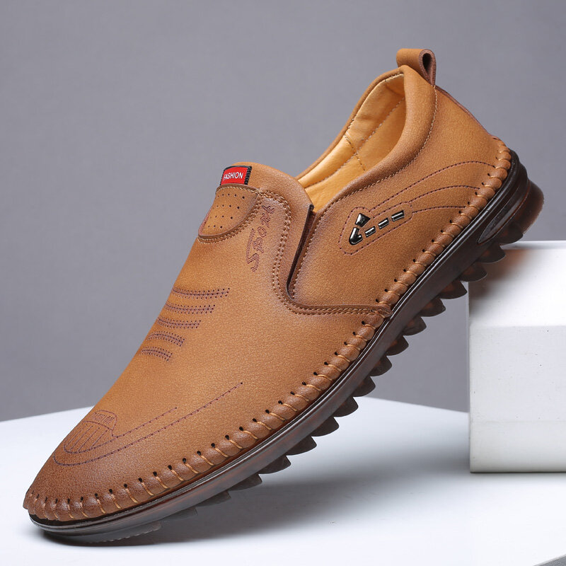 Men Hand Stitching Leather Non Slip Slip On Comfy Shoes