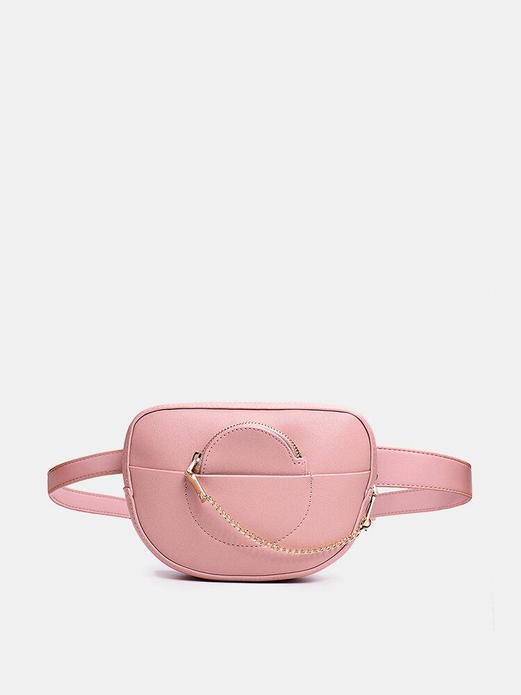 Mulheres Cintura Corrente Bolsa Sólido Telefone Bolsa Crossbody Bolsa
