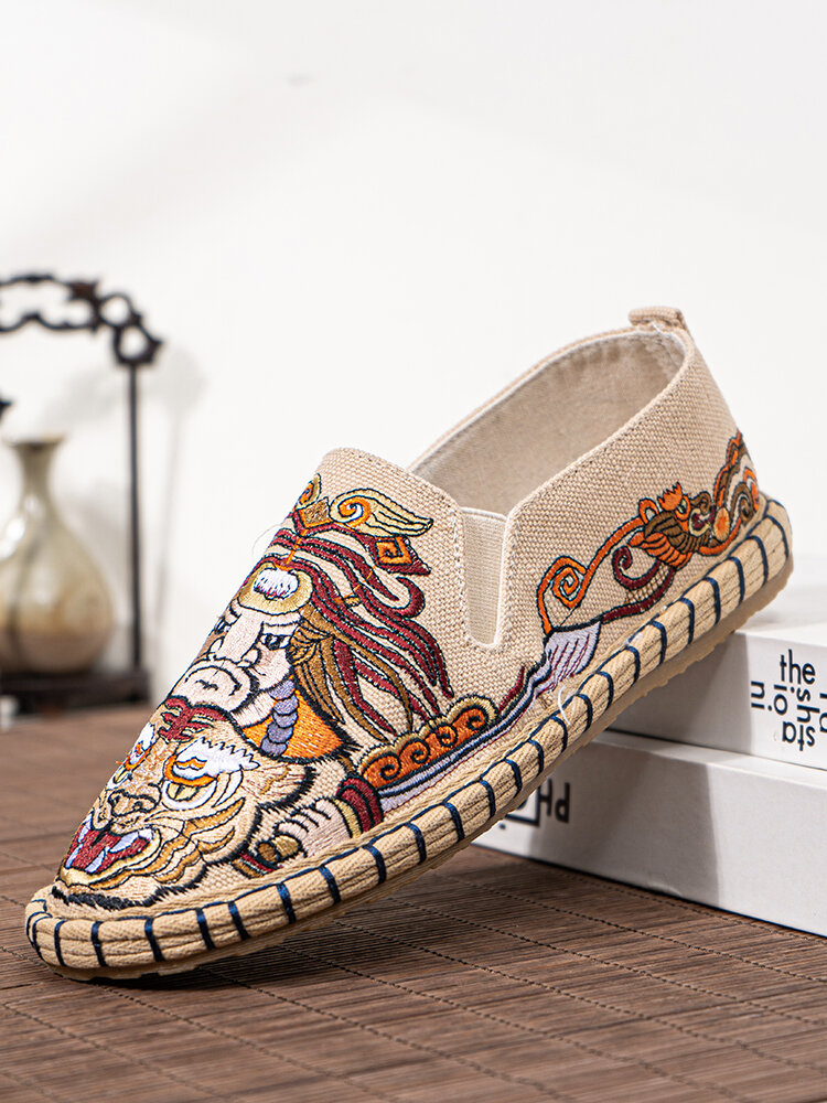 Men Linen Embroidery Pattern Hand Made Slip On Casual Shoes