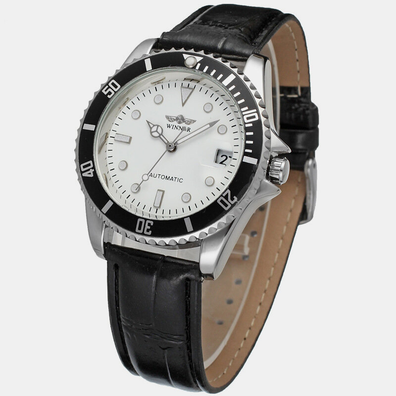 Leisure Sports Men Watch Belt Black White Waterproof Full Automatic Mechanical Watch, newchic  - buy with discount
