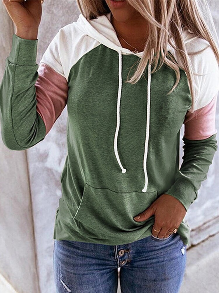 Contrast Color Patchwork Long Sleeve Casual Hoodie For Women