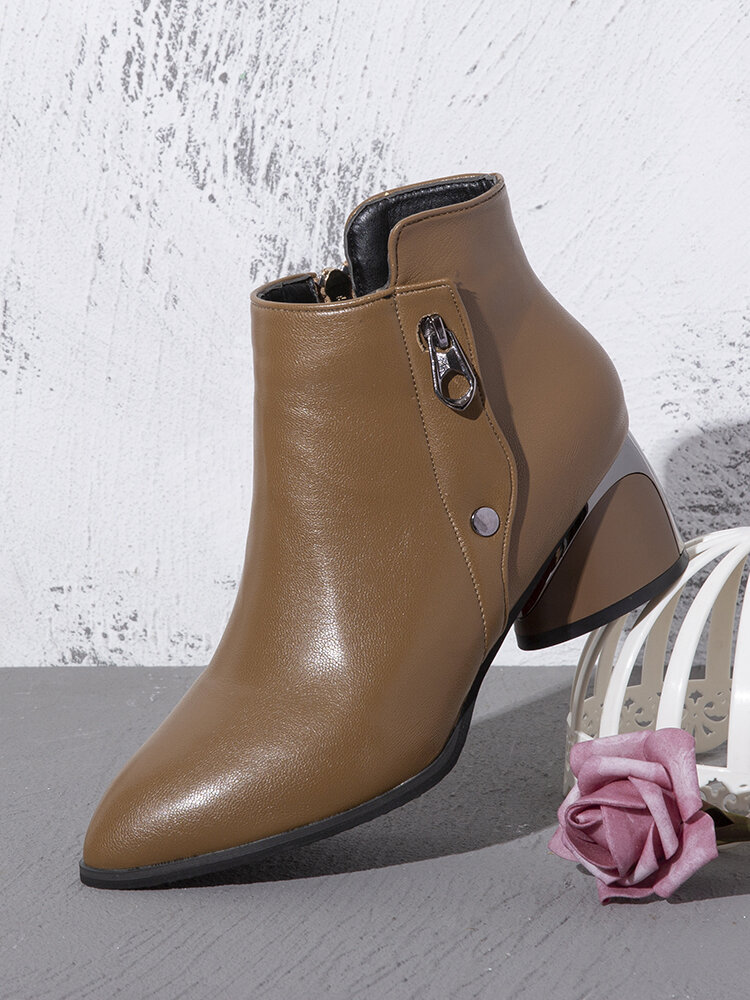 Women Casual Pointed Toe Solid Color Side-zip Chunky Heel Ankle Boots