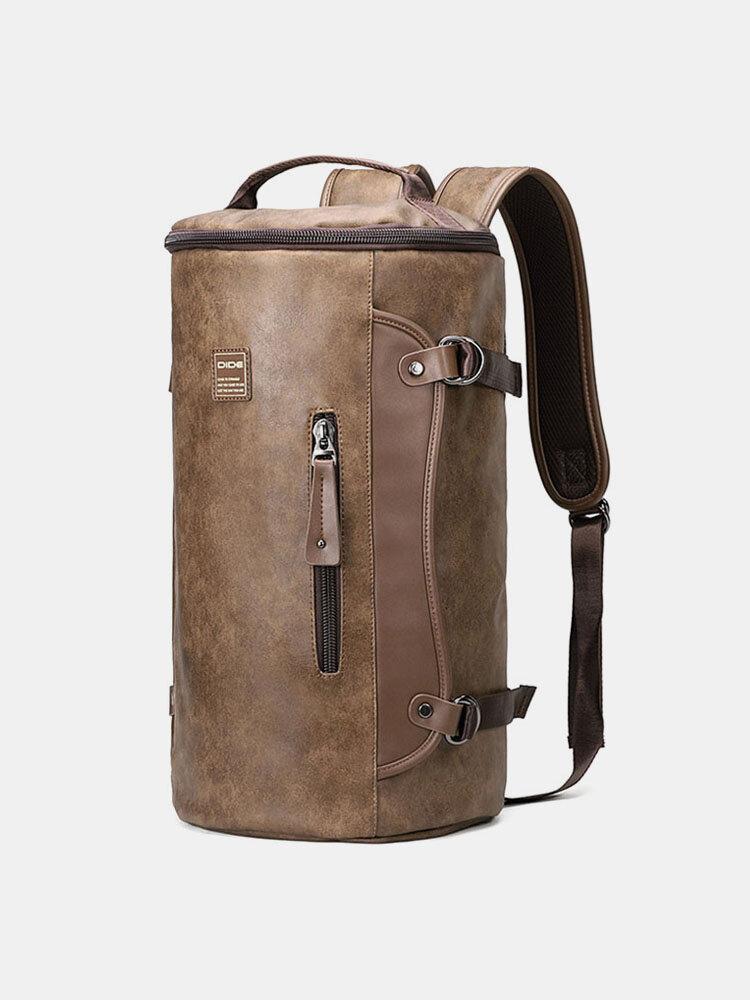 Мужской кожаный рюкзак большой емкости На открытом воздухе Ковш для дорожного рюкзака Сумка
