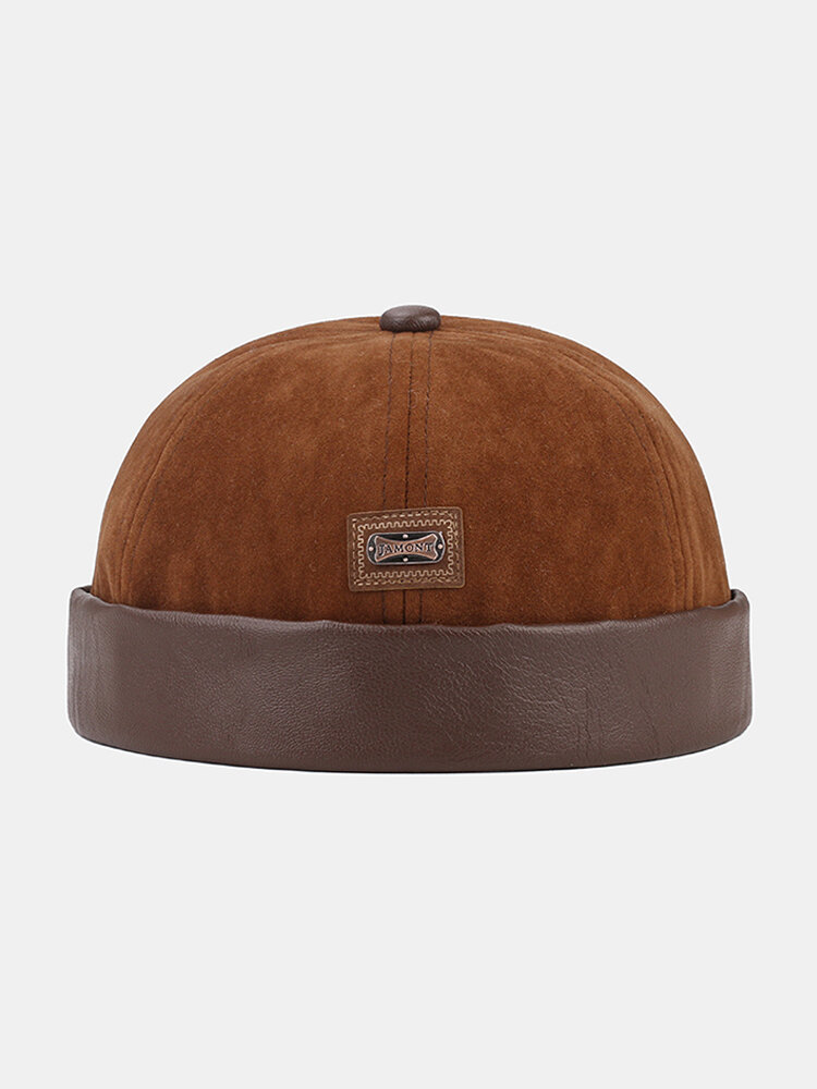 Collrown Men & Women Faux Leather Warm Soft Casual Brimless Beanie Landlord Hat Skull Hat
