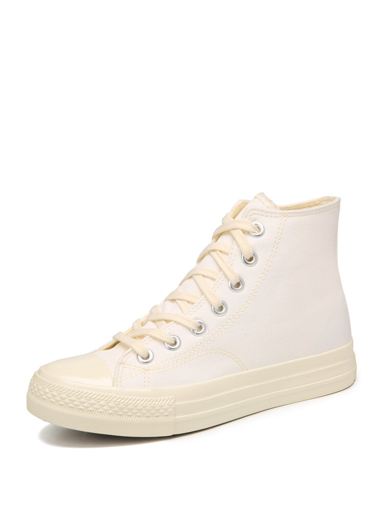 Women White Stitching High Top Lace Up Canvas Shoes