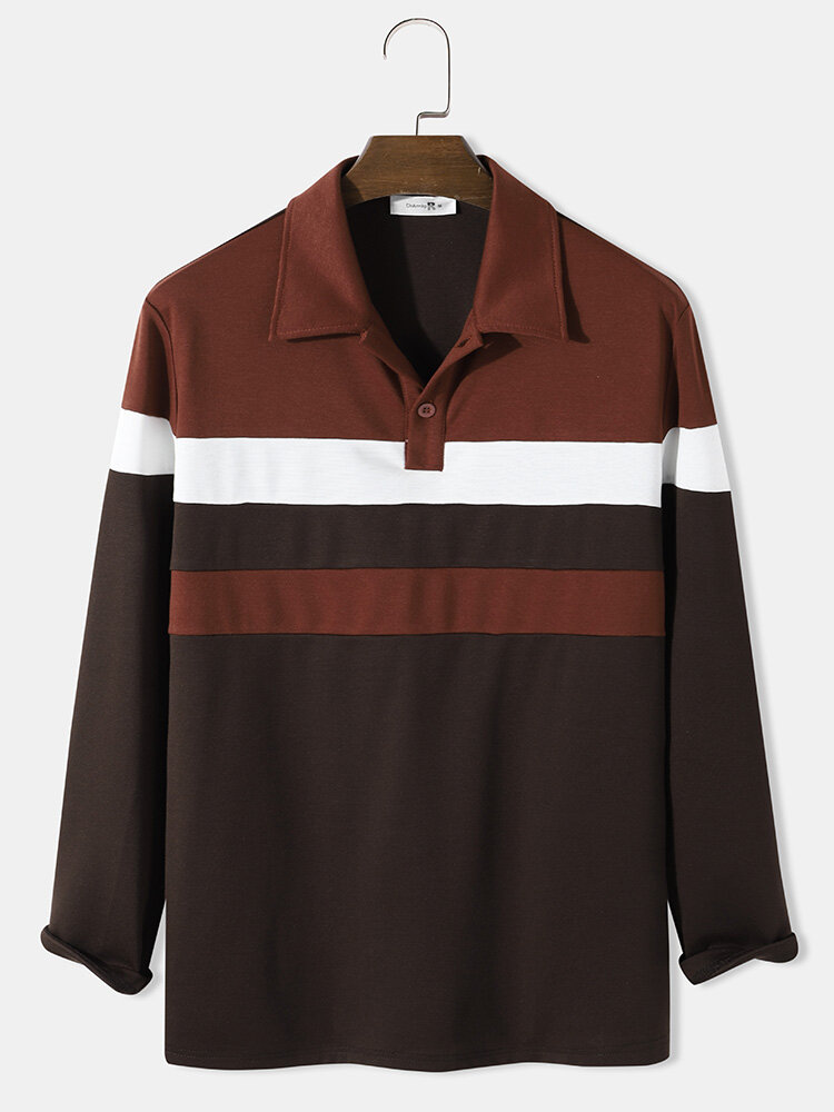 Mens Contrasting Colors Patchwork Long Sleeve Golf Shirt