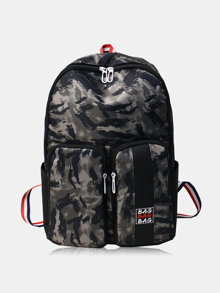 Vintage Oxford Cloth Two Pockets Front Large Capacity Color Block Design Backpack For Unisex