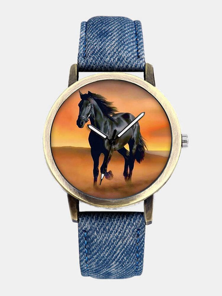 Casual All-Match Denim Strap Men Watch Black Horse Desert Dial Women Quartz Watch