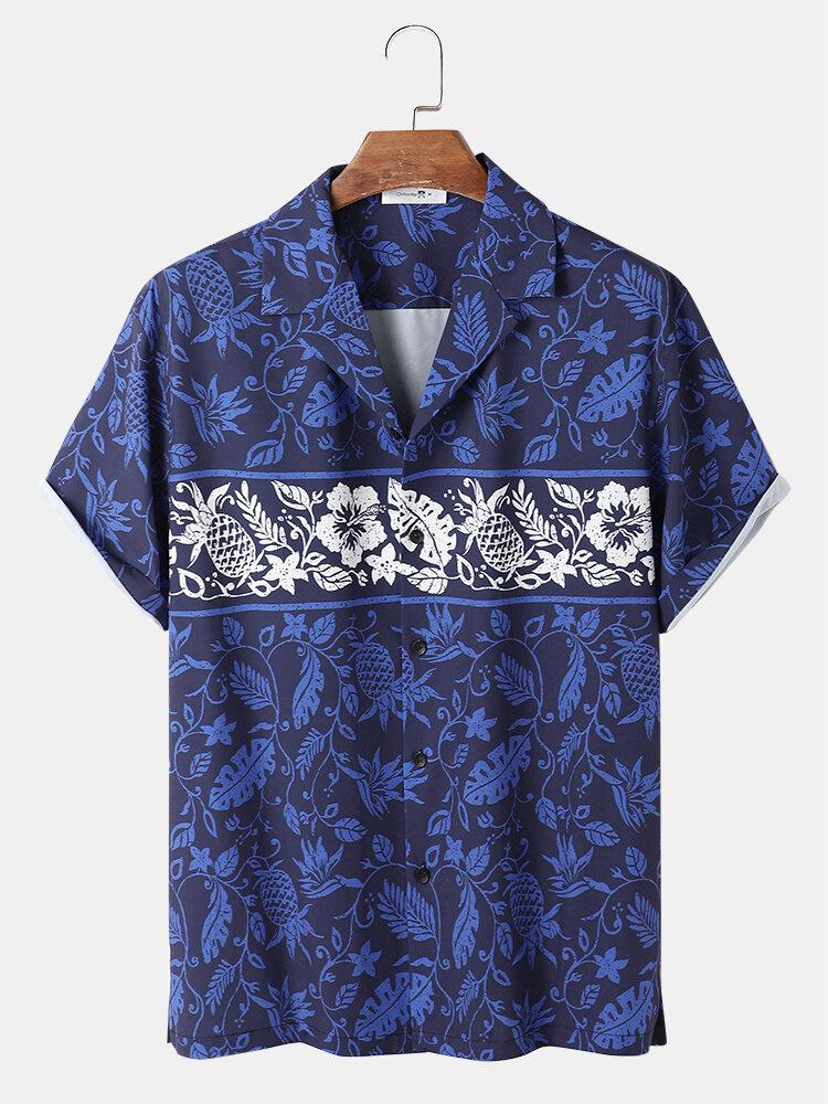 メンズオールオーバープラントフローラルプリントホリデー半袖リビアカラーシャツ