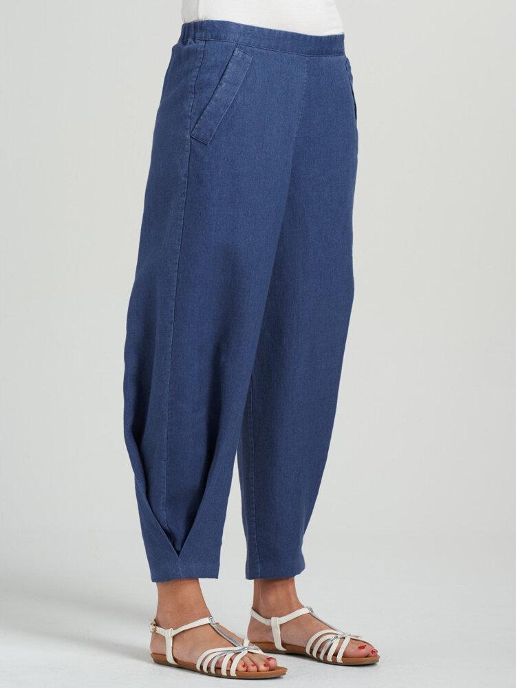 Cintura elástica informal de color sólido con piernas anchas plisado Pantalones