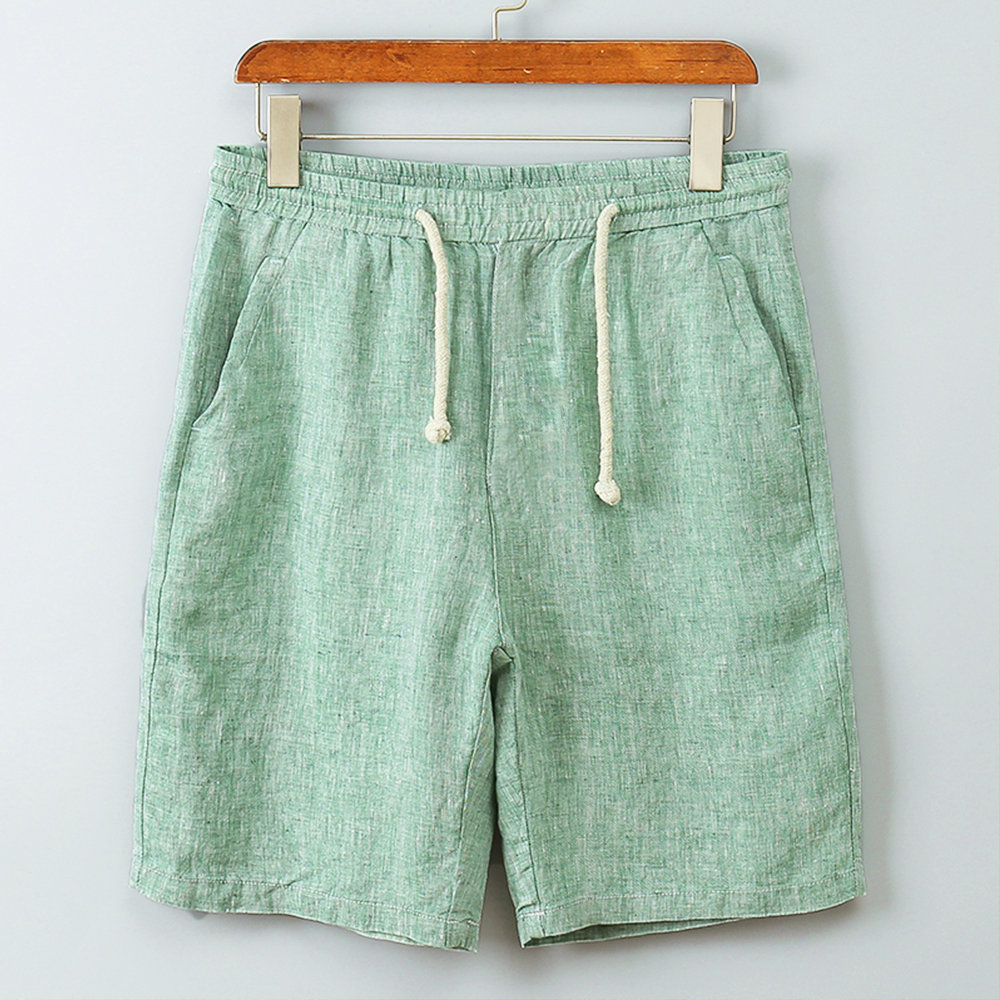 Mens Casual Cotton Linen Casual Short Pants