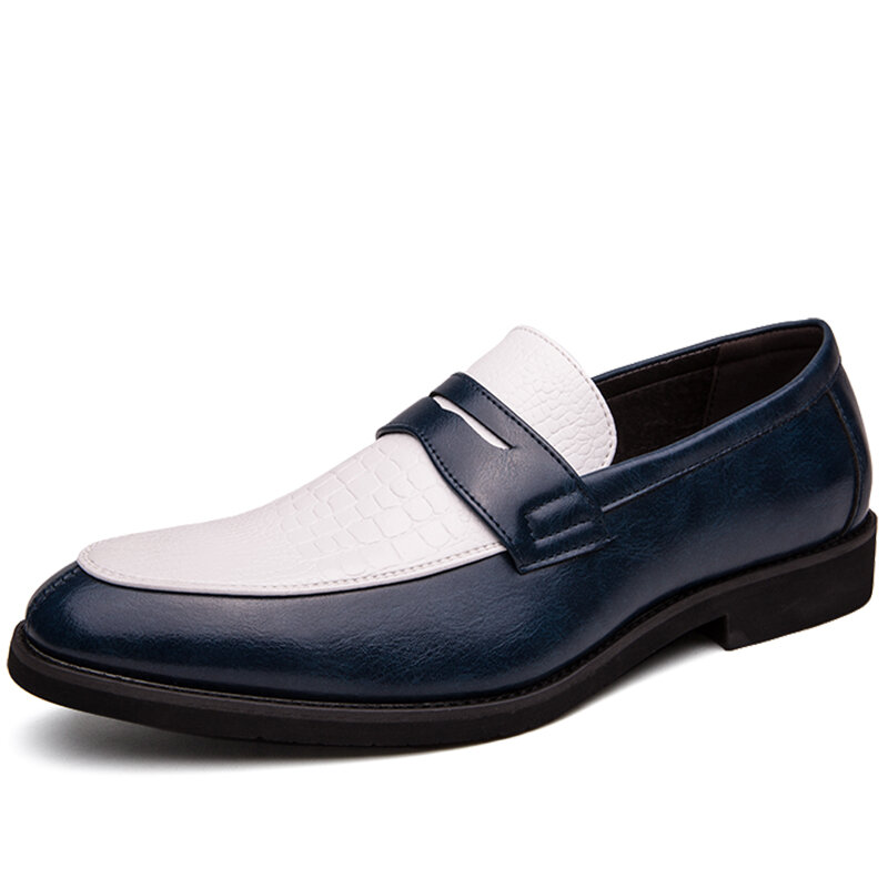 Men Microfiber Leather Slip Resistant Slip On Business Casual Formal Shoes