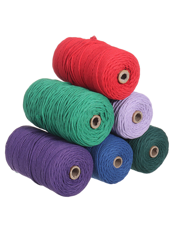1Pc 200mx3mm Color Cotton Rope Cotton Thread Braiding Rope Hand DIY Decorative Rope Tapestry Weaving Rope