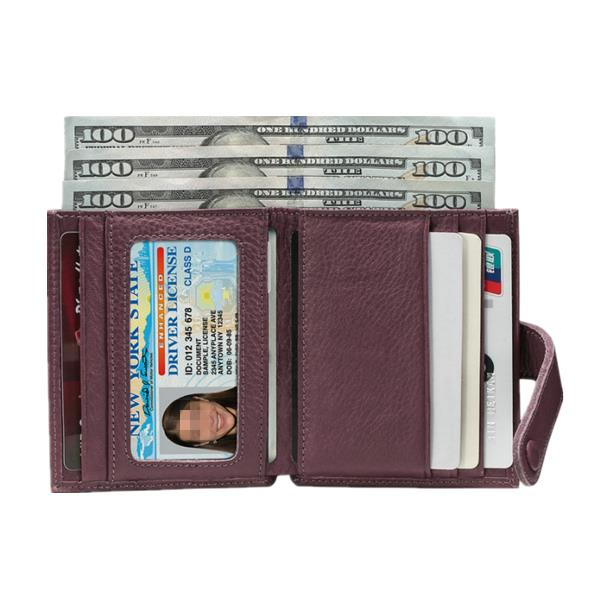 Women Soft Genuine Leather Compact Zipper Coin Pocket 7 Card Holders Wallet