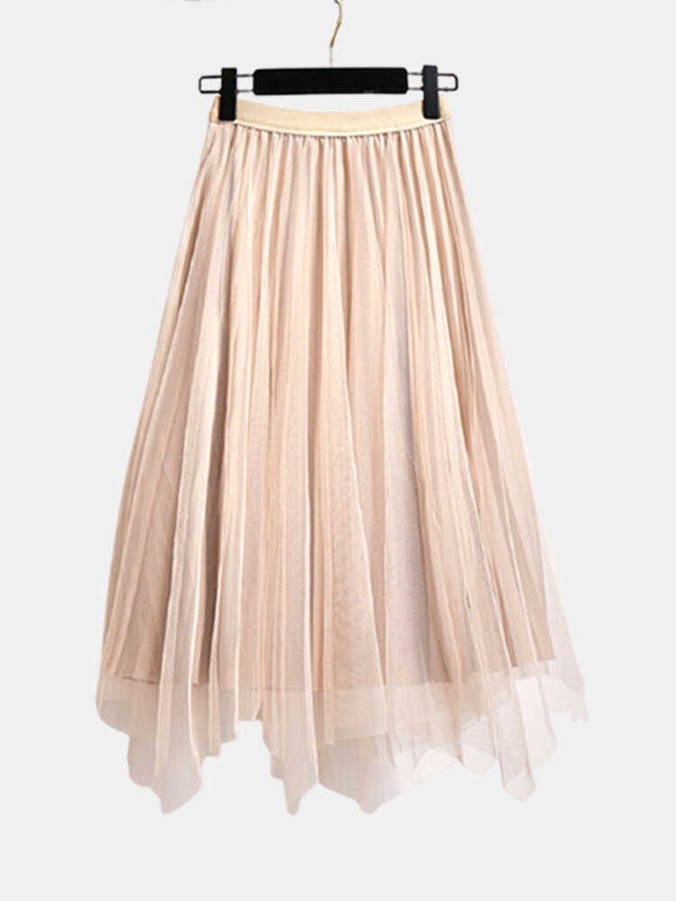 Solid Color Reversible High Elastic Waist Pleated Mesh Skirt
