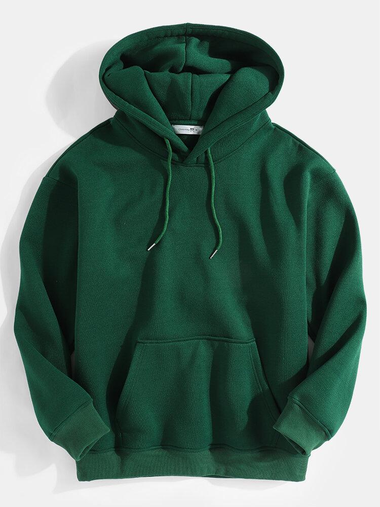 Mens Simple Pure Color Casual Loose Kangaroo Pocket Hoodie