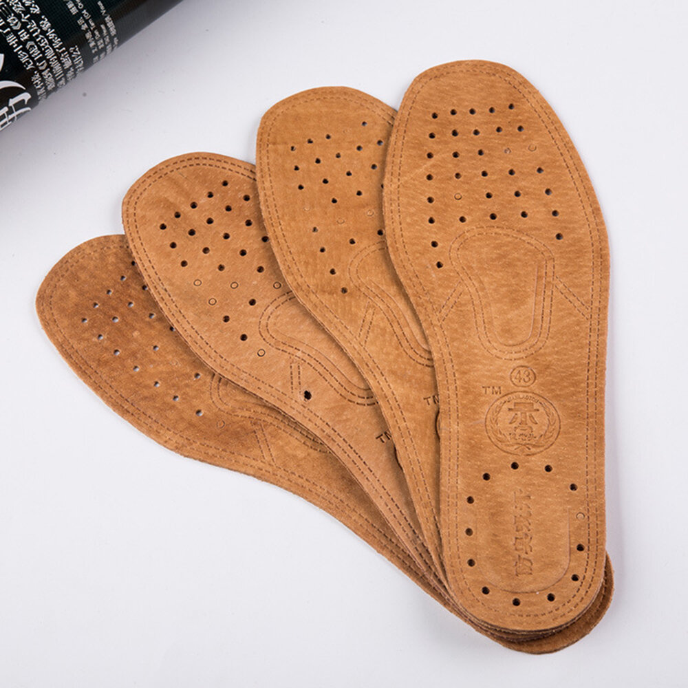5 Piece Absorbing Sweat Deodorant Breathable Cowhide Leather Non Slip Shoes Insole