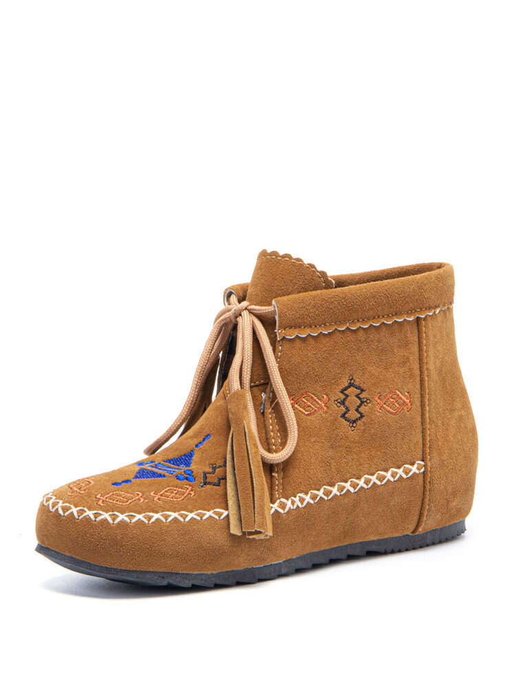 Women Retro Ethnic Embroidered Increased Heel Lace Up Short Boots
