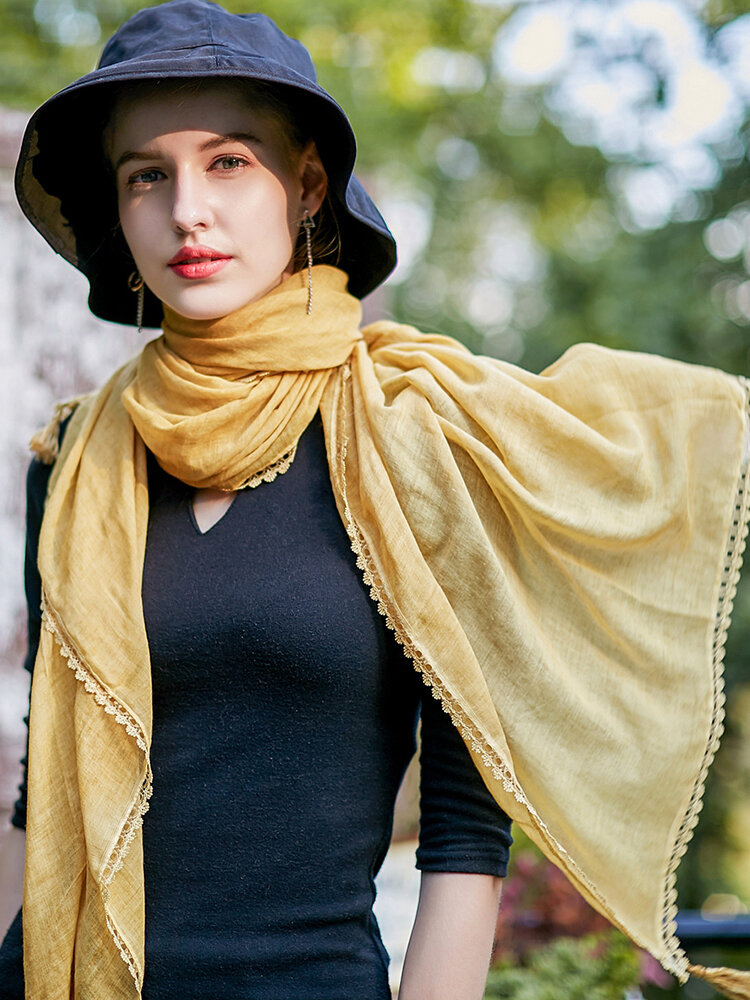 Women Solid Color Cotton Linen Scarves With Lace Fringe Sunshade Thin Shawl Scarf