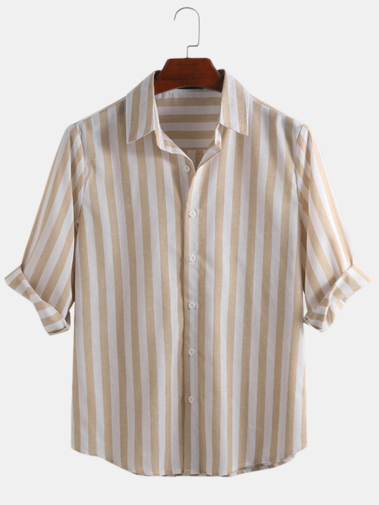 Mens Cotton Vertical Striped Square Collar Cropped Sleeve Shirt