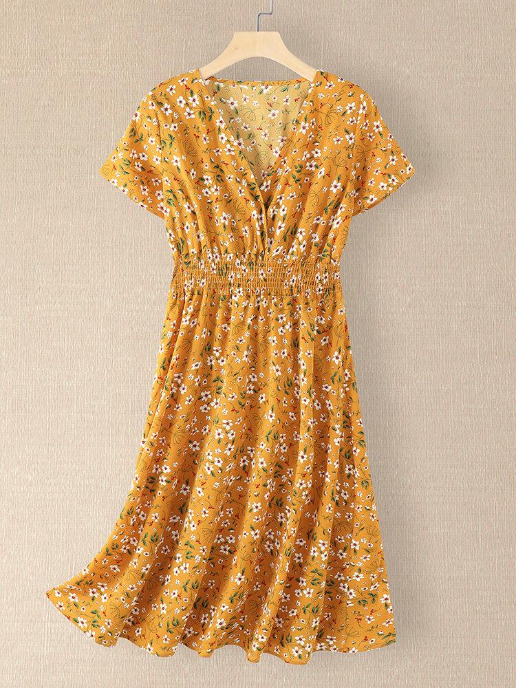 Women Floral Print V-neck Elastic Waist Short Sleeve Dress