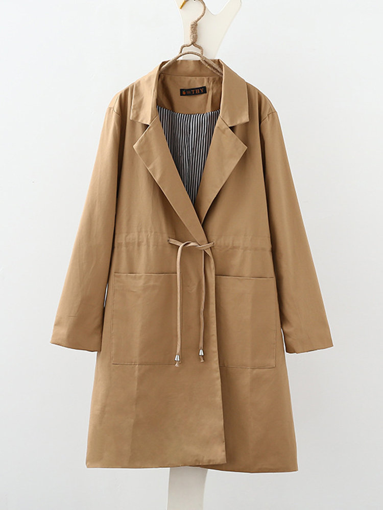 Solid Color Lapel Pocket Long Sleeve Trench Coat - Newchic Plus Size Outerwear