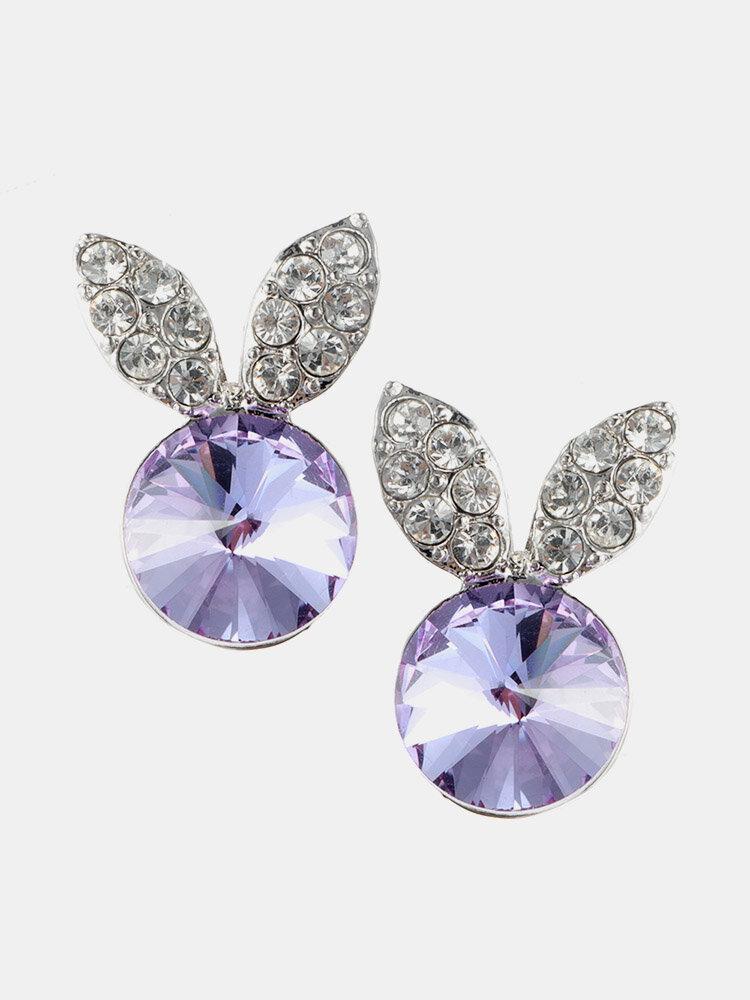 Cute Rabbit Womens Earrings Luxury Simple Dazzling Crystal Micro Paved Rhinestone Stud Earrings Gift