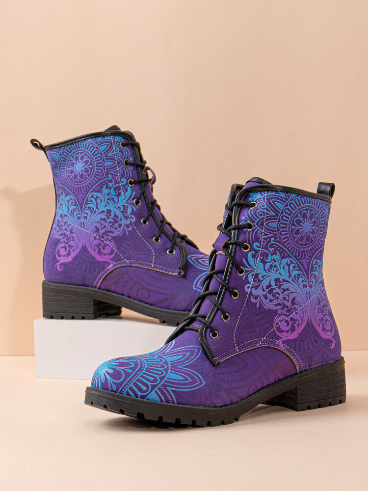 Plus Size Women Casual Butterfly Printing Lace Up Flat Combat Boots