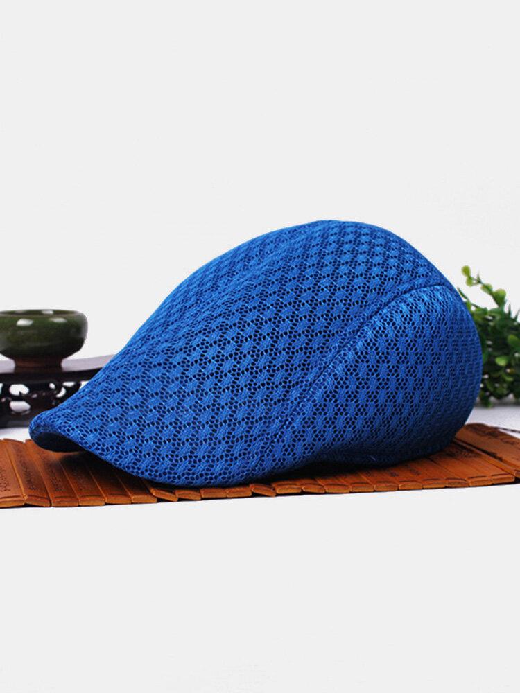 Men Women Mesh Beret Cap Outdoor Sports Golf Cabbie Peaked Hats