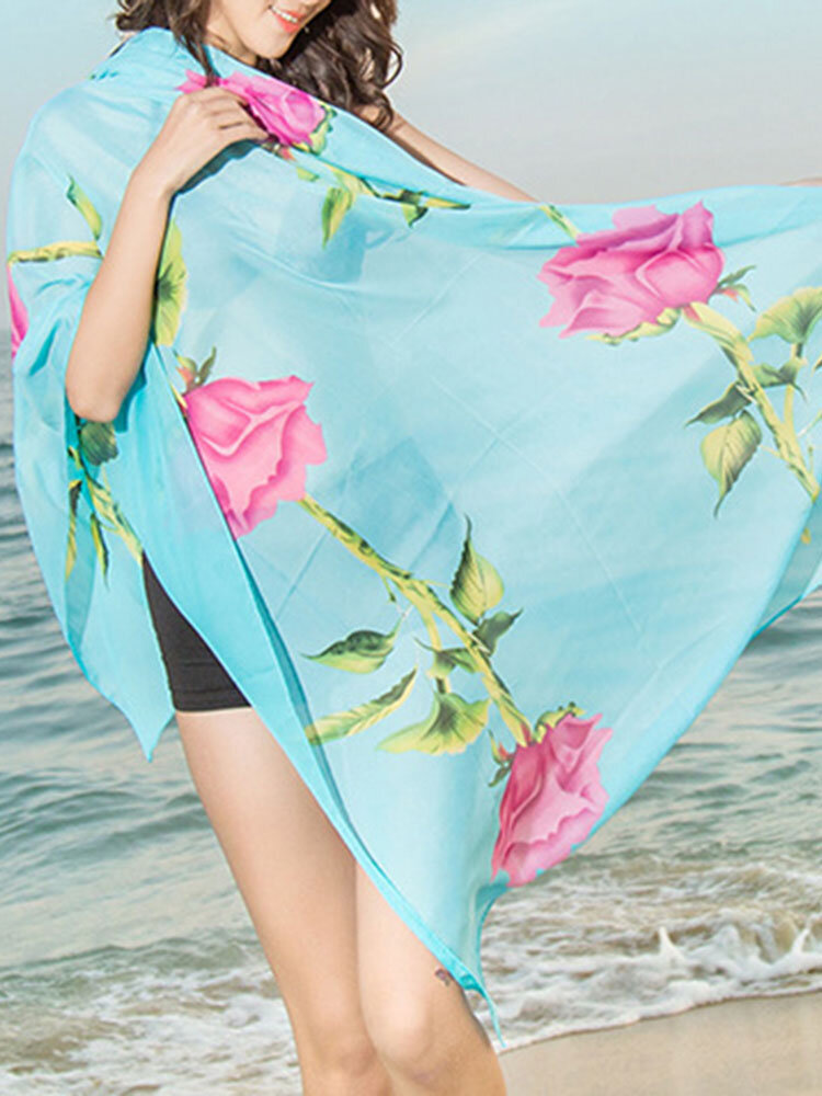 Women Chiffon Long Soft Scarf Casual Thin Shawl Multifunction Scarves Outdoor Beach Scarves