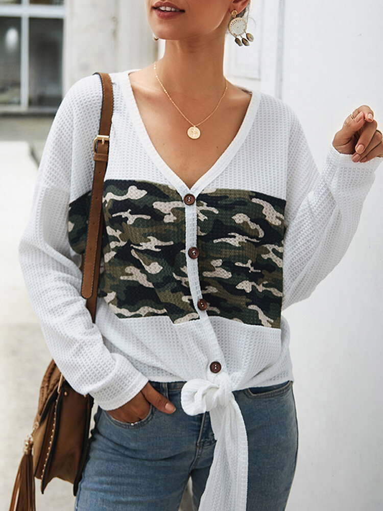 Lace Up Camouflage Patched Long Sleeve V-neck Shirt
