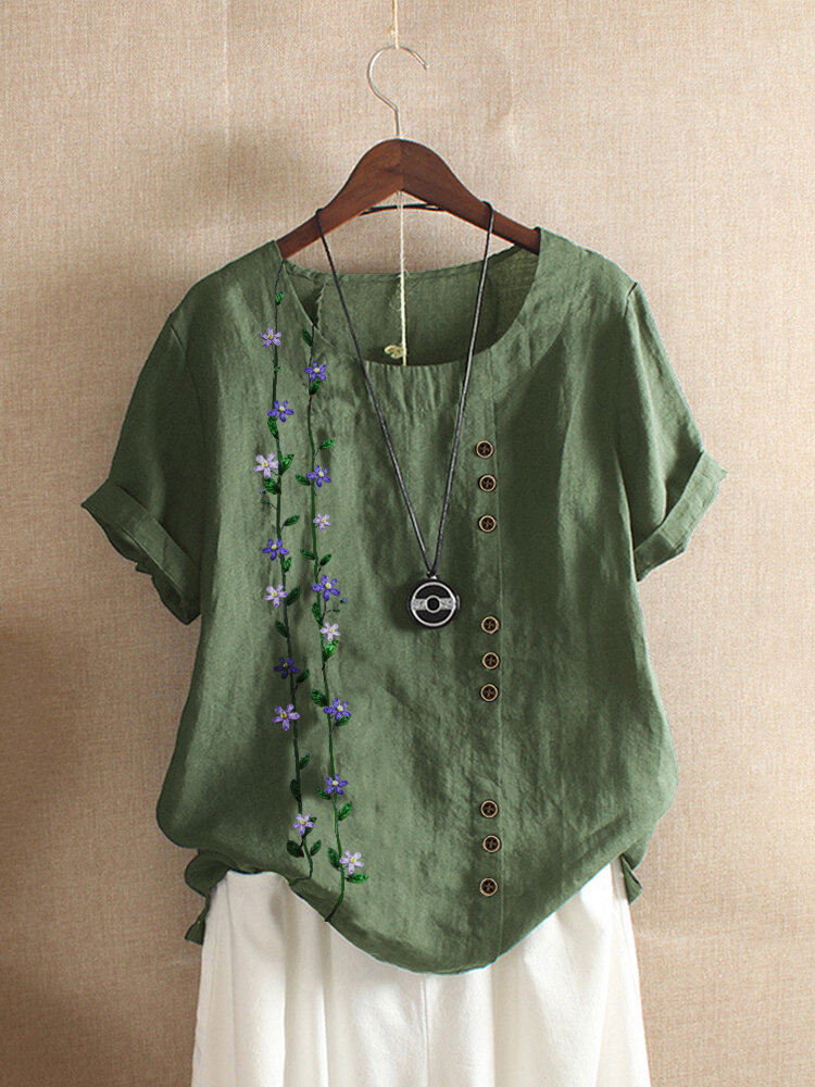 Embroidery Floral Short Sleeve Vintage T-shirt For Women