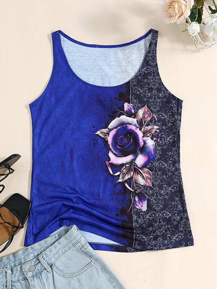 Camiseta sin mangas con cuello redondo y estampado de rosas para Mujer