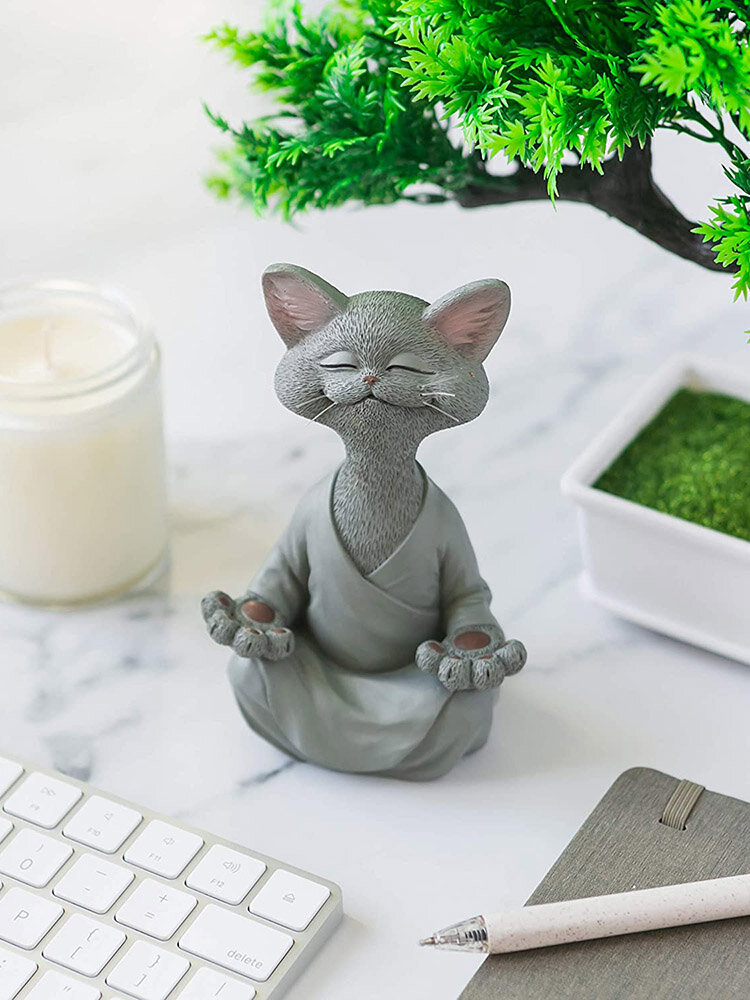 1 PC Resin Quiet Contemplation Buddha Cat Figurine Meditation Yoga Collectible Happy Cat Collection Cats Lover Gift Women Yoga Home Decor