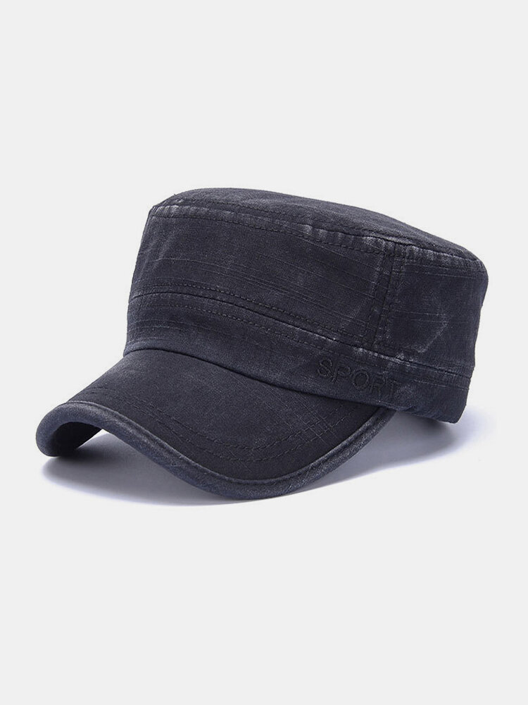 Men Cotton Letters Pattern Embroidery Solid Color Vintage Military Hat