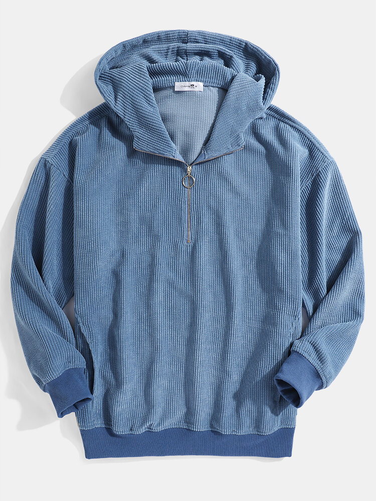 Mens Corduroy Solid Color Vintage Zipper Front Casual Hoodies With Pocket