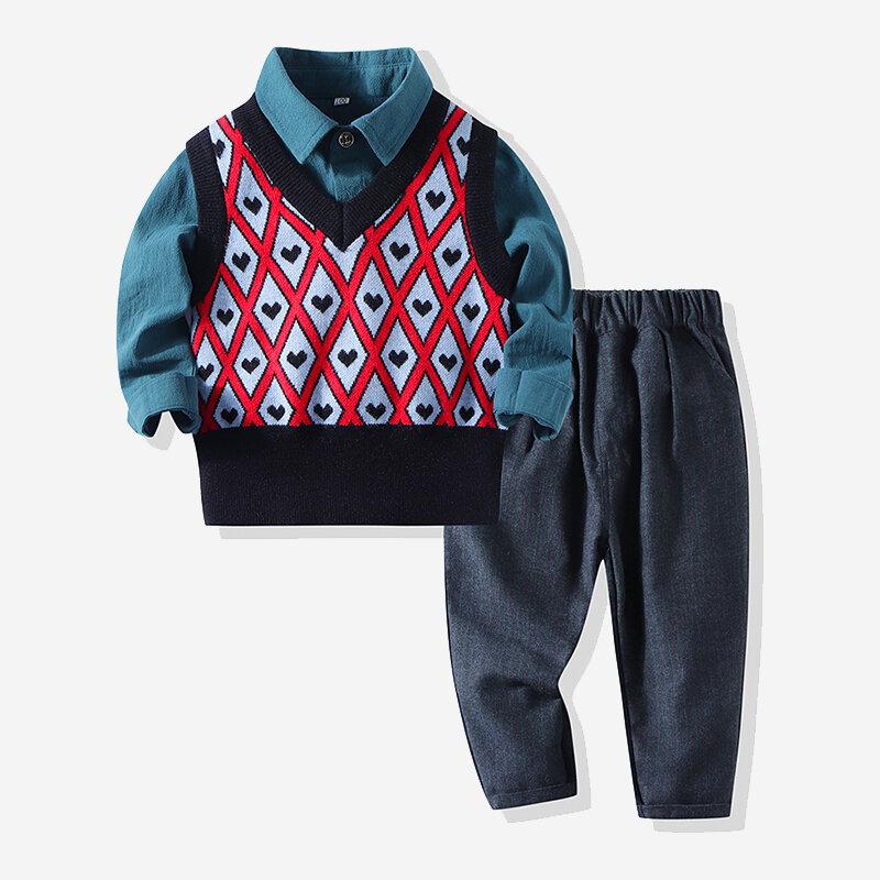 Baby Plaid Cuore T-shirt casual a maniche lunghe lavorata a maglia con stampa per 6-24 m