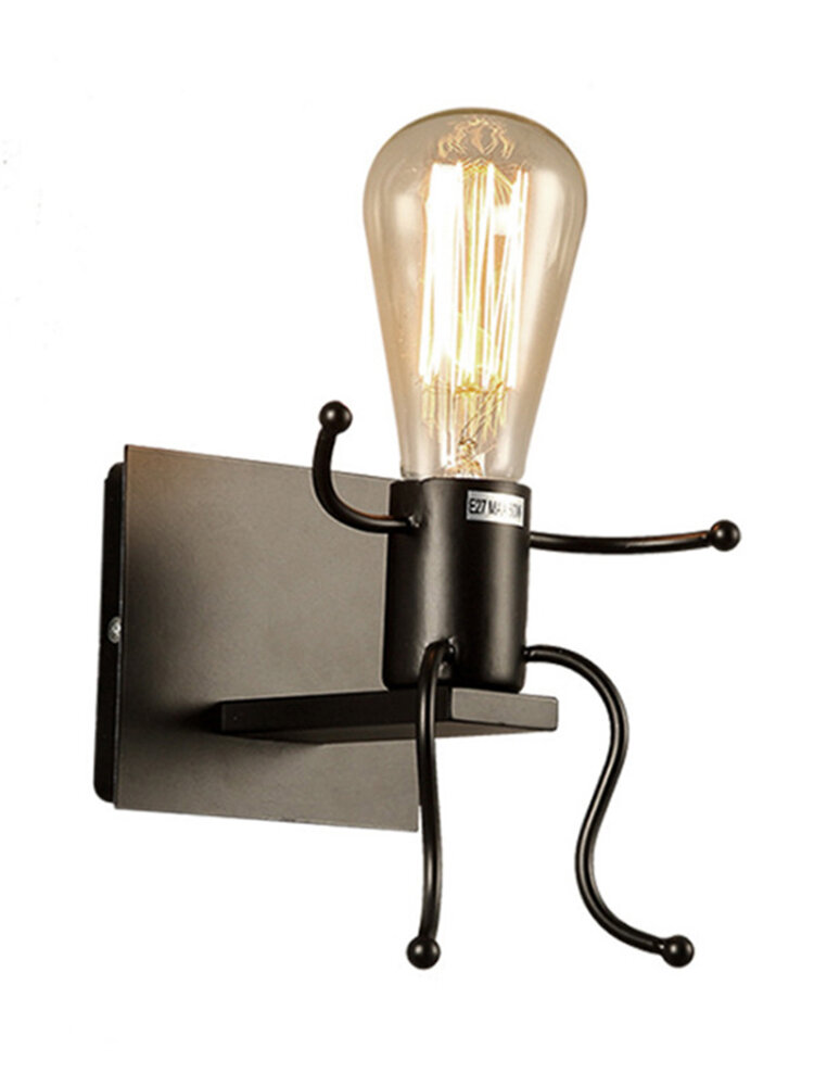 Vintage Industrial Splink Wall Light Light Robot Wall Lamp with E27 Lampholder Home Bars Restaurants