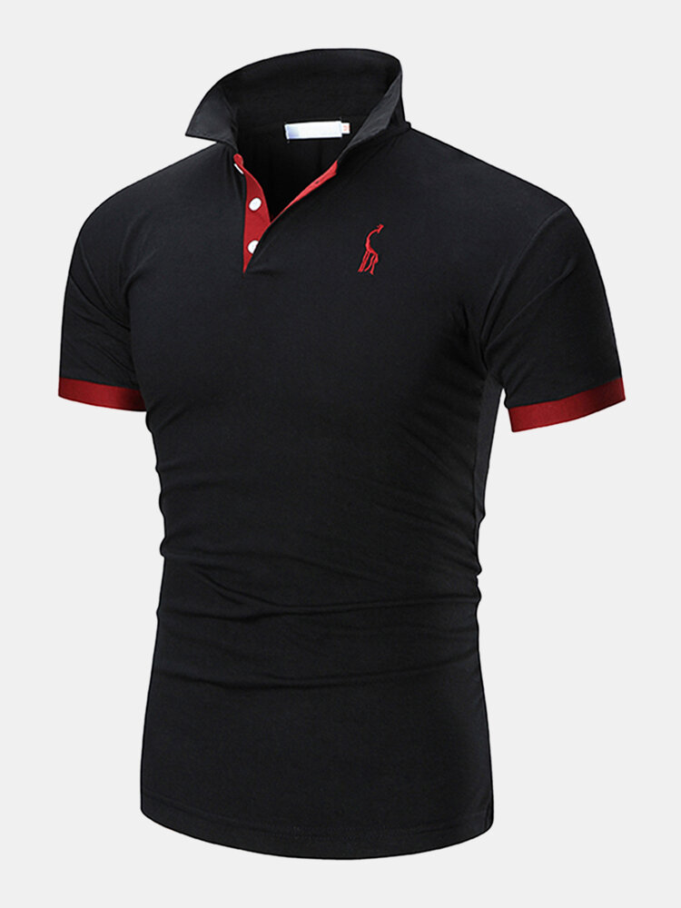 Mens Deer Chest Embroidery Contrast 100% Cotton Casual Golf Shirts