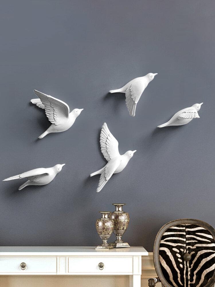 Europeo 3D estéreo pared resina pájaro pared fondo ornamento hogar artesanía decoración